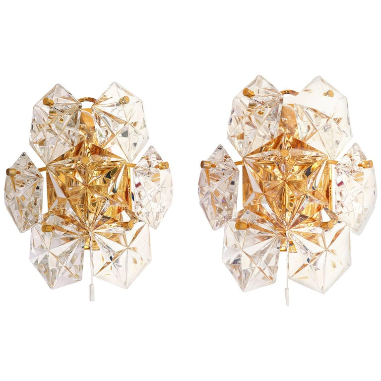 Pair of Gold-Plated and Faceted Crystal Wall Sconces by Kinkeldey