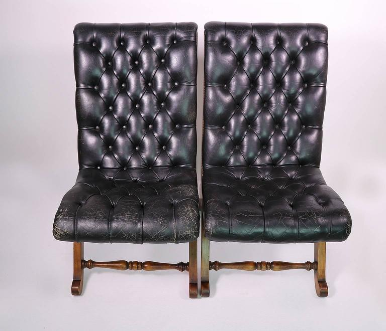 Pair Of Leather Tufted Chairs By Pierre Lottier For Valenti In Good  Condition For Sale In