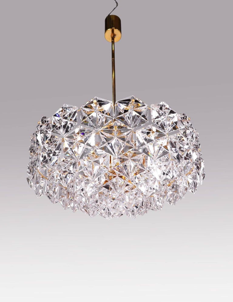 Large Gold-Plated Crystal Chandelier by Kinkeldey, Germany, 1960s For Sale 2