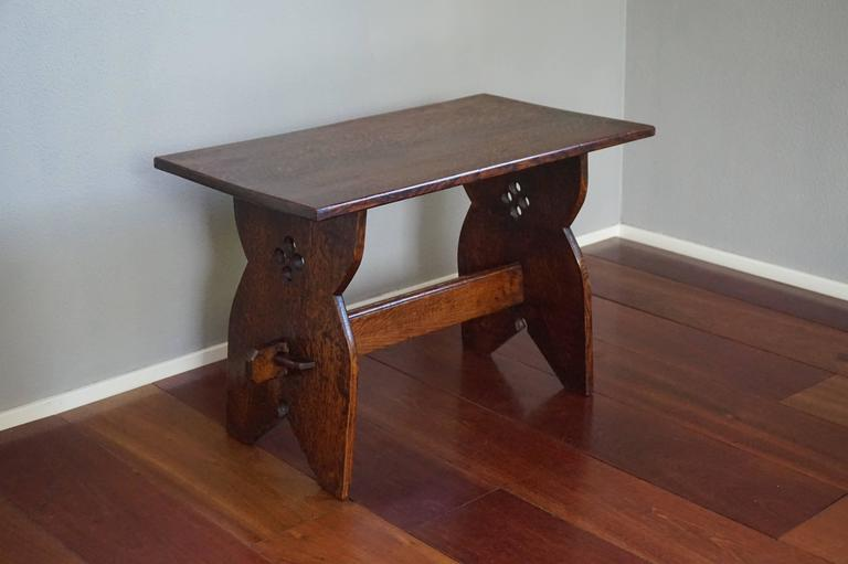 Early 20th Century Arts And Crafts Solid Tiger Oak Occasional Or