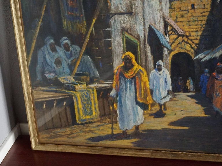 Wonderful street scene in early 20th century Morocco.  If you are looking for Arab and/or Bedouin culture related antiques then you could not wish for a more original and authentic work of art. This fine quality painting is completely original (with