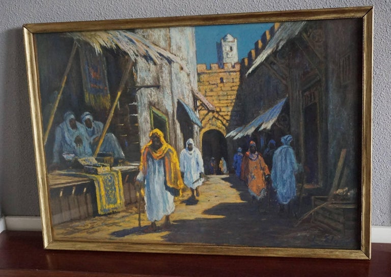 Antique & Serene Arab Market / Bedouin Painting on Board by Leo Eland circa 1910 For Sale 2
