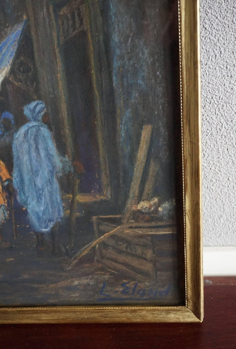 Glass Antique & Serene Arab Market / Bedouin Painting on Board by Leo Eland circa 1910 For Sale
