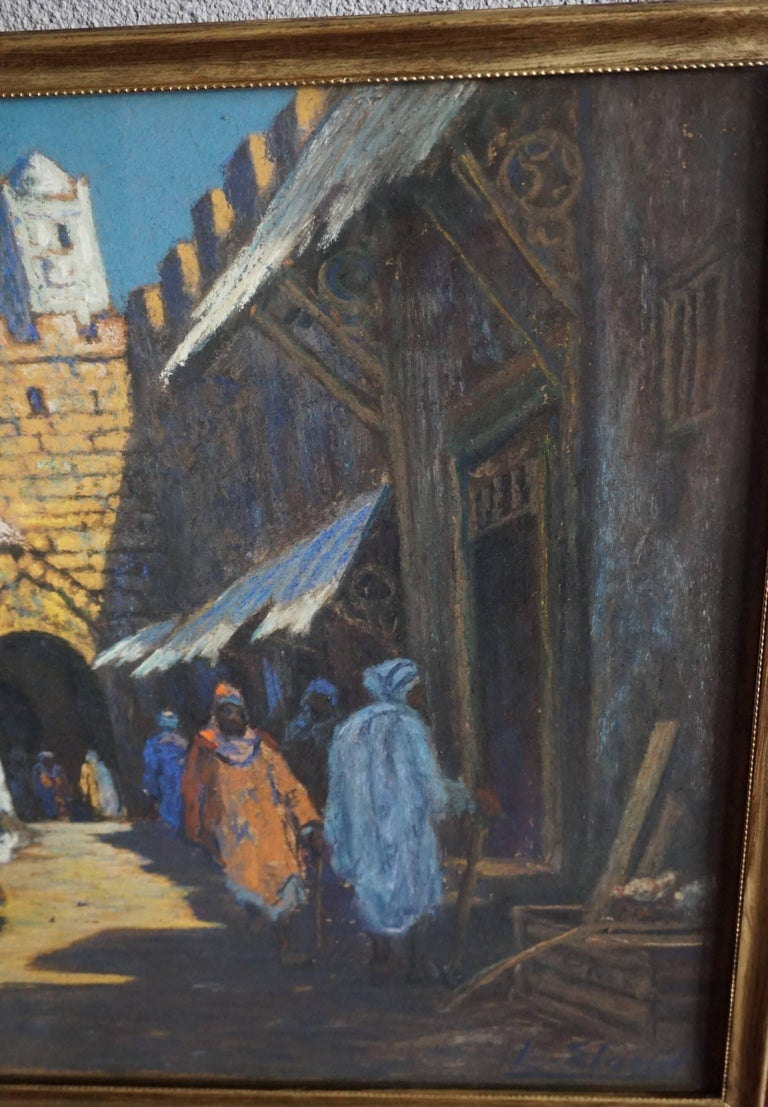 20th Century Antique & Serene Arab Market / Bedouin Painting on Board by Leo Eland circa 1910 For Sale
