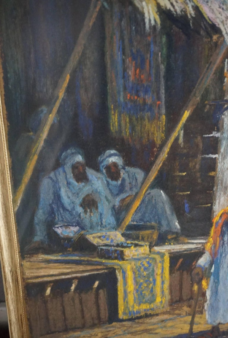 Hand-Crafted Antique & Serene Arab Market / Bedouin Painting on Board by Leo Eland circa 1910 For Sale