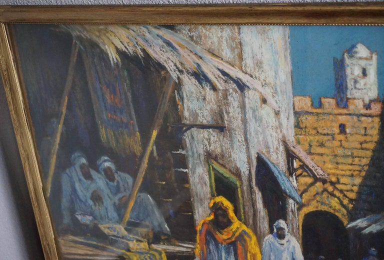 Moroccan Antique & Serene Arab Market / Bedouin Painting on Board by Leo Eland circa 1910 For Sale