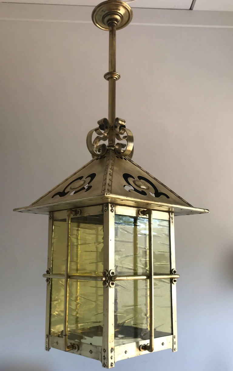 Late 19th century arts and crafts brass and glass lantern pendant late 19th century arts and crafts brass glass lantern pendant light fixture for sale arubaitofo Choice Image