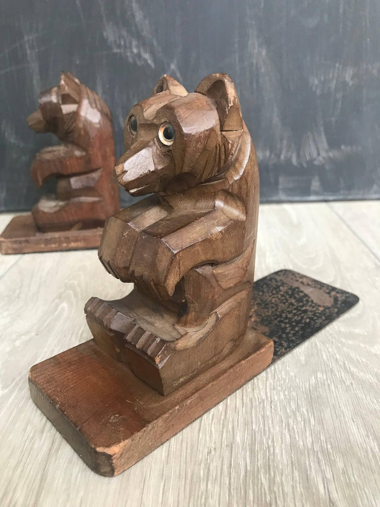 Glass Highly Decorative Pair of Hand-Carved Art Deco Era, Wooden Sitting Bear Bookends For Sale