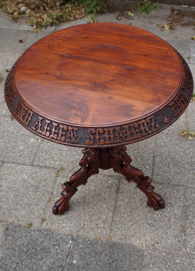 German Wine Table With Hand Carved Saying Or Psalm Griffin Sculpture Legs For