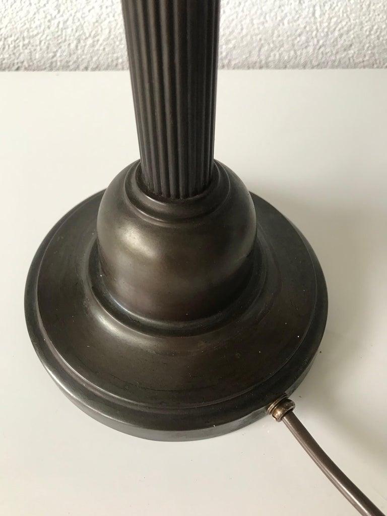 German Jugendstil Era Arts & Crafts Patinated Brass Table or Desk Standard Lamp For Sale