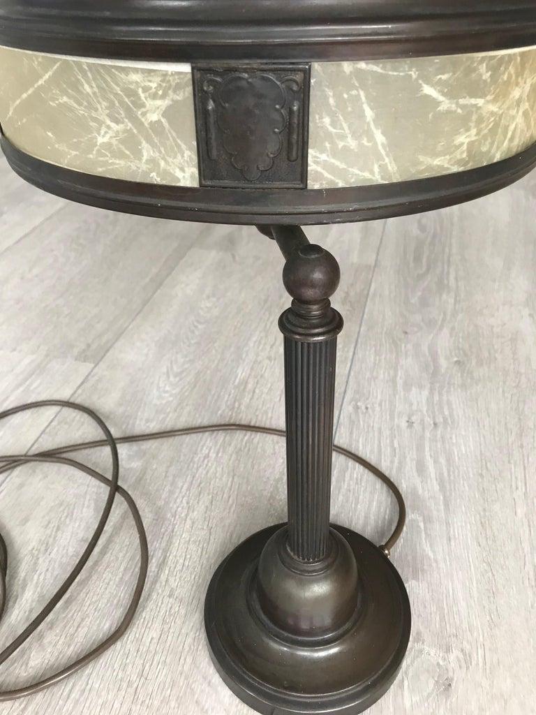 Jugendstil Era Arts & Crafts Patinated Brass Table or Desk Standard Lamp For Sale 3