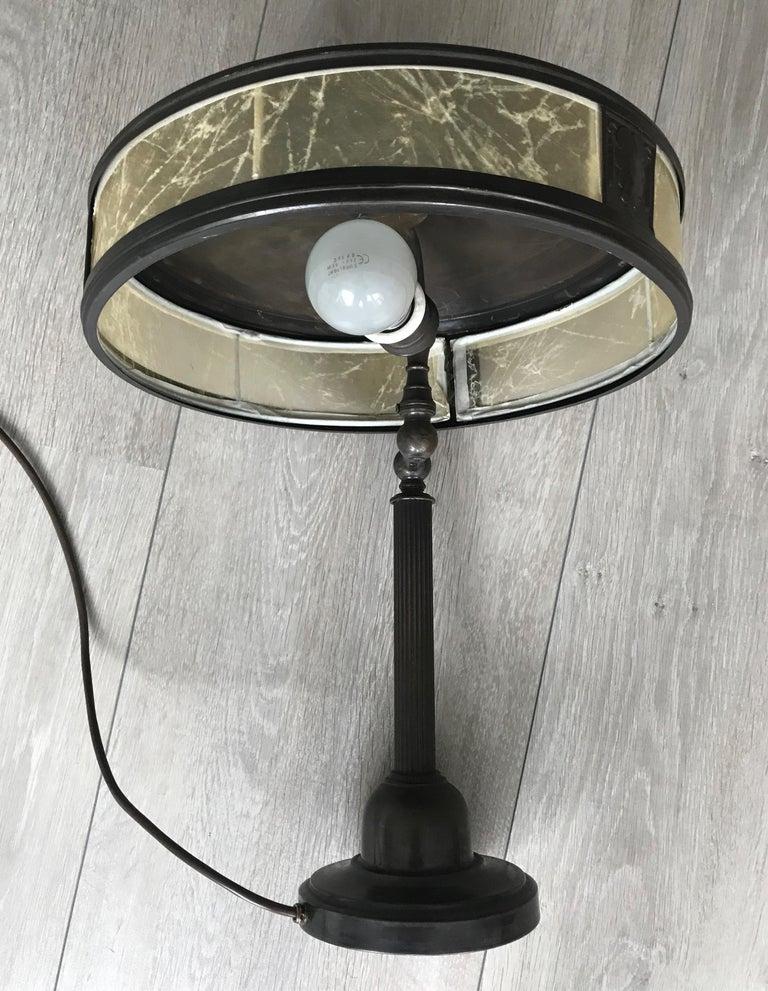 20th Century Jugendstil Era Arts & Crafts Patinated Brass Table or Desk Standard Lamp For Sale