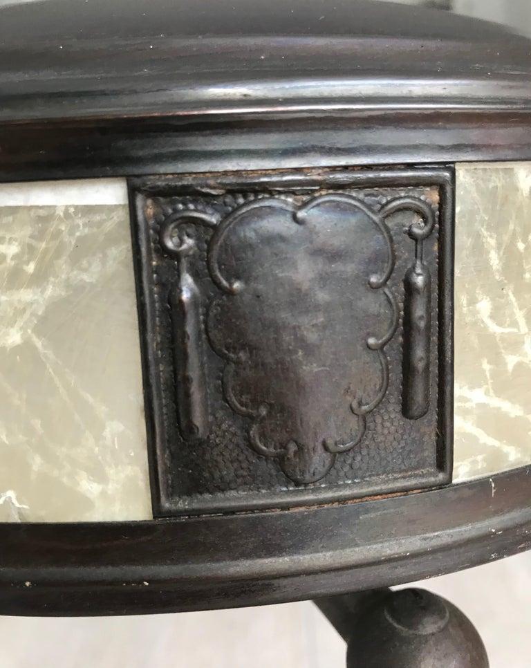 Jugendstil Era Arts & Crafts Patinated Brass Table or Desk Standard Lamp For Sale 2