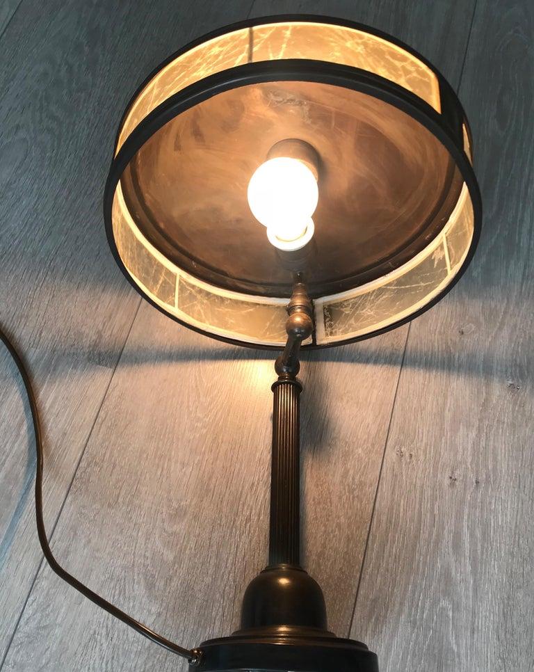 Jugendstil Era Arts & Crafts Patinated Brass Table or Desk Standard Lamp For Sale 8