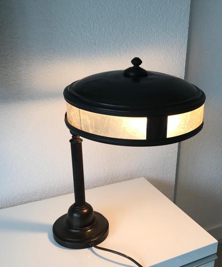 Jugendstil Era Arts & Crafts Patinated Brass Table or Desk Standard Lamp For Sale 11