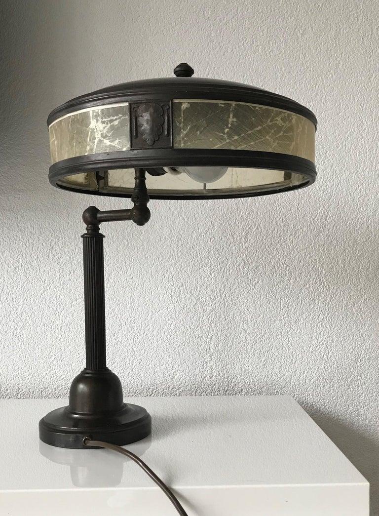 Jugendstil Era Arts & Crafts Patinated Brass Table or Desk Standard Lamp For Sale 10