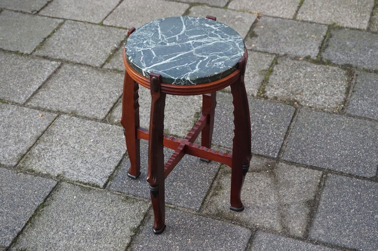 Dutch Mahogany and Marble Arts and Crafts Wine Table / Plant Stand / End Table For Sale