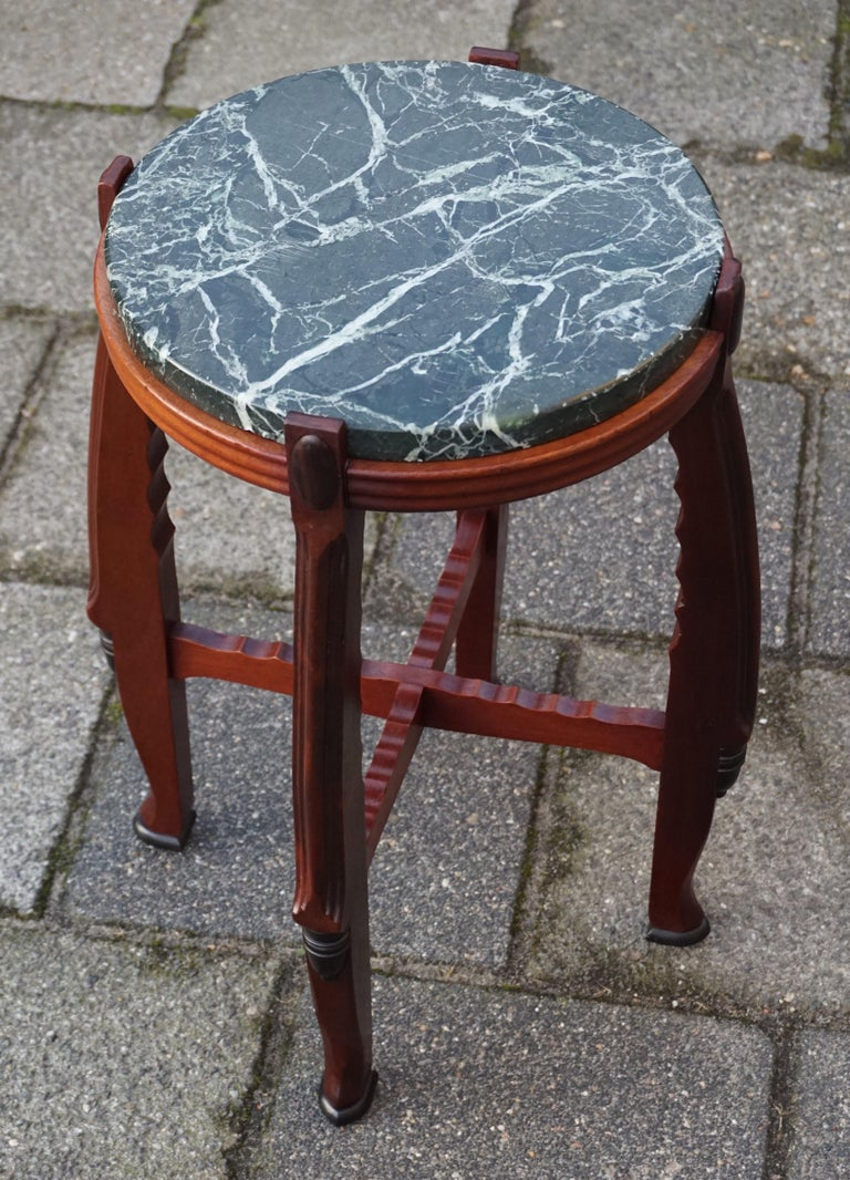 Mahogany and Marble Arts and Crafts Wine Table / Plant Stand / End Table For Sale 4