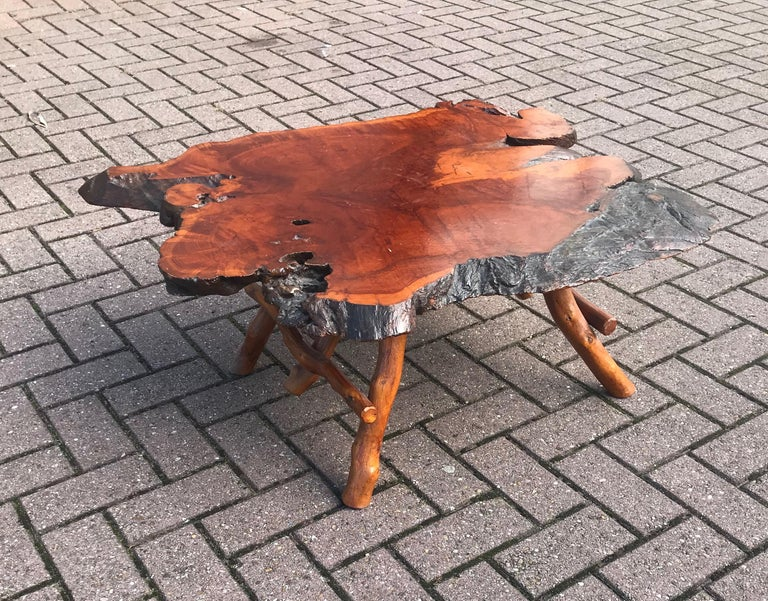 Organic Modern Good Size Midcentury Organical Shape Cherry Burl Coffee Table, Stunning Grain For Sale