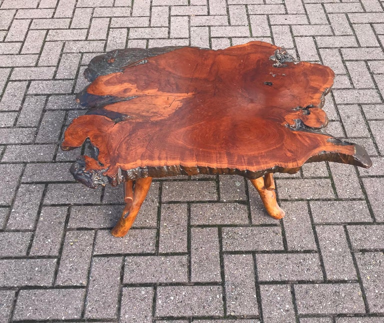 Good Size Midcentury Organical Shape Cherry Burl Coffee Table, Stunning Grain For Sale 6