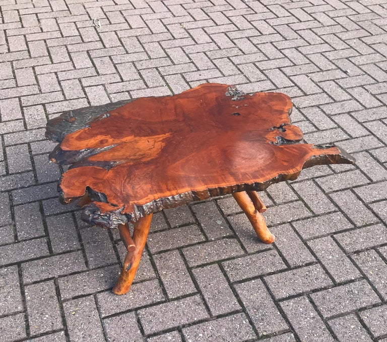 Good Size Midcentury Organical Shape Cherry Burl Coffee Table, Stunning Grain For Sale 7