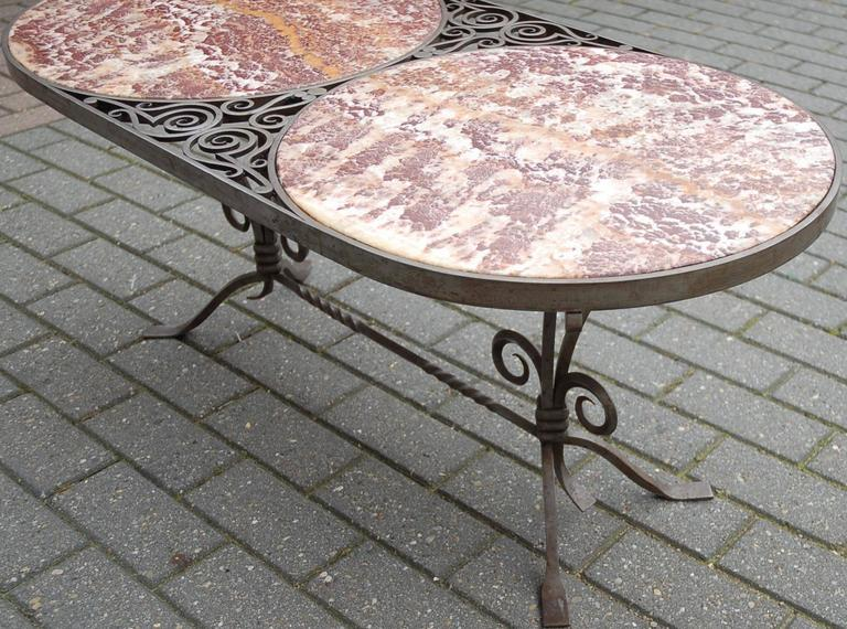 1920s french wrought iron and marble oval top coffee table for Oval wrought iron coffee table with glass top