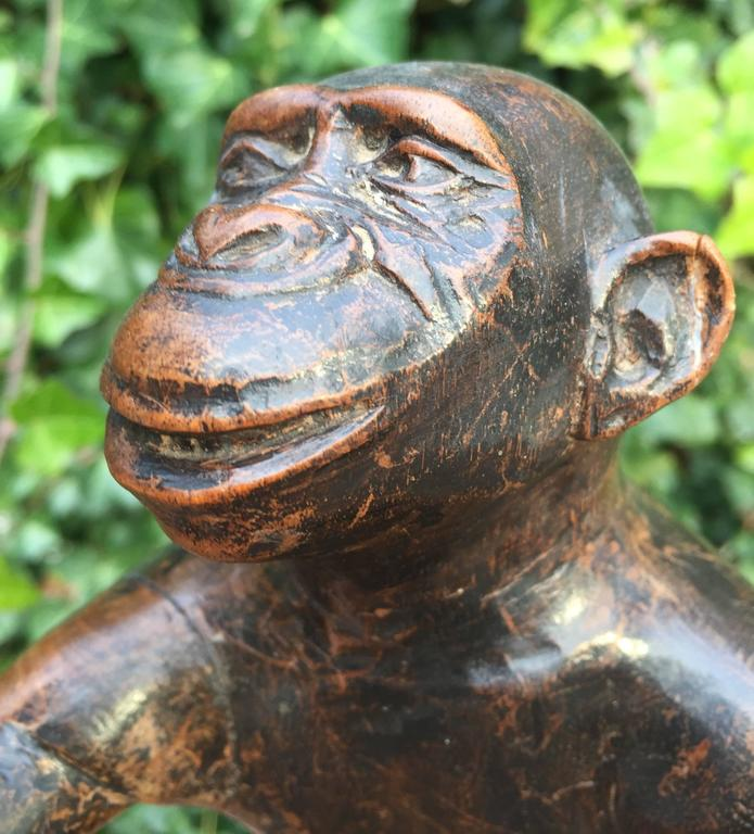 Dutch Rare and Decorative Carved Chimp, Monkey Wooden Table or Desk Lamp Early 1900 For Sale