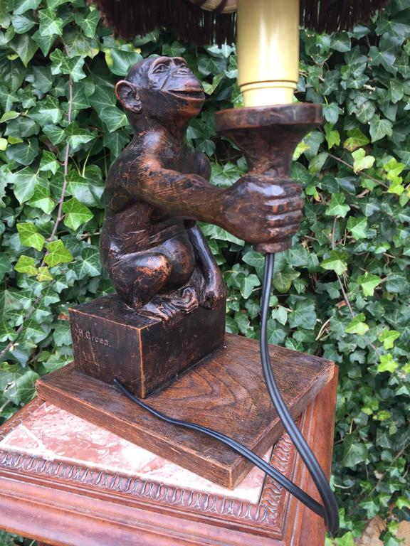 Rare and Decorative Carved Chimp, Monkey Wooden Table or Desk Lamp Early 1900 For Sale 2