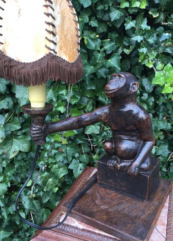 Rare and Decorative Carved Chimp, Monkey Wooden Table or Desk Lamp Early 1900 For Sale 3