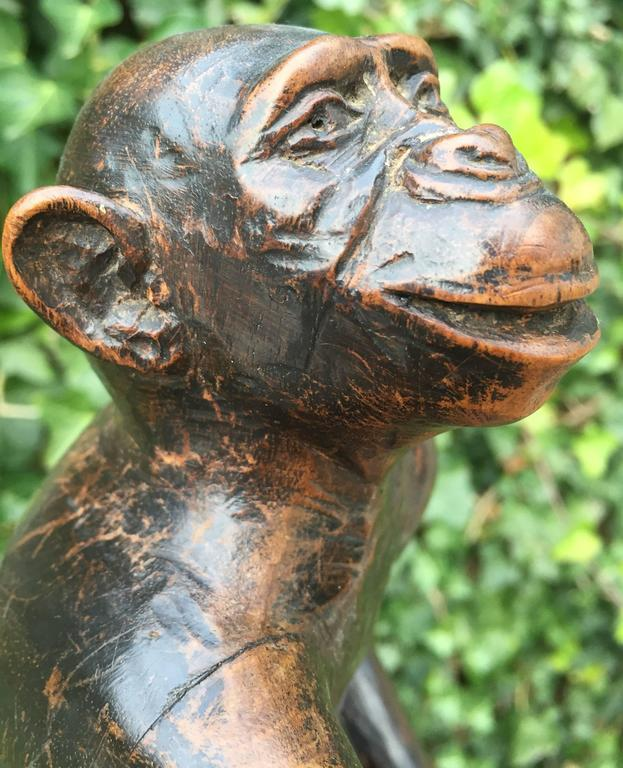 Rare and Decorative Carved Chimp, Monkey Wooden Table or Desk Lamp Early 1900 For Sale 4
