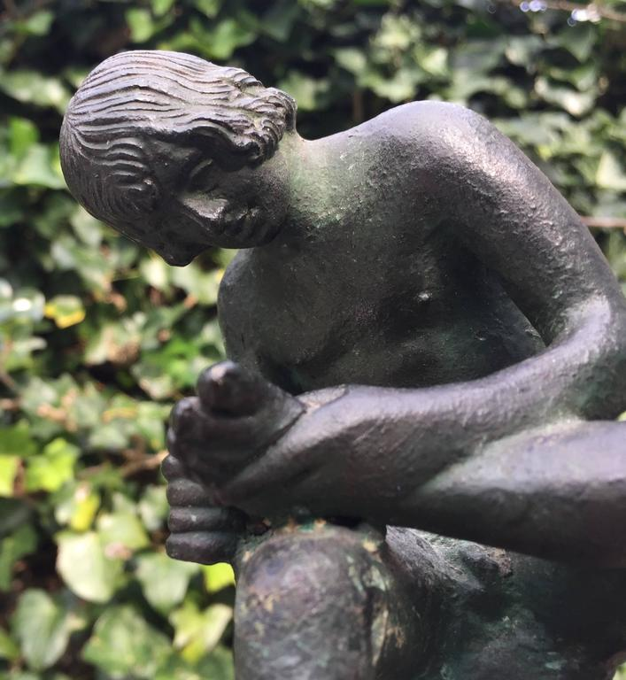 Italian 19th Century Marble & Bronze 'Spinario' Boy Pulling a Thorn from His Foot Statue For Sale
