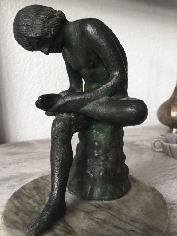 19th Century Marble & Bronze 'Spinario' Boy Pulling a Thorn from His Foot Statue For Sale 3