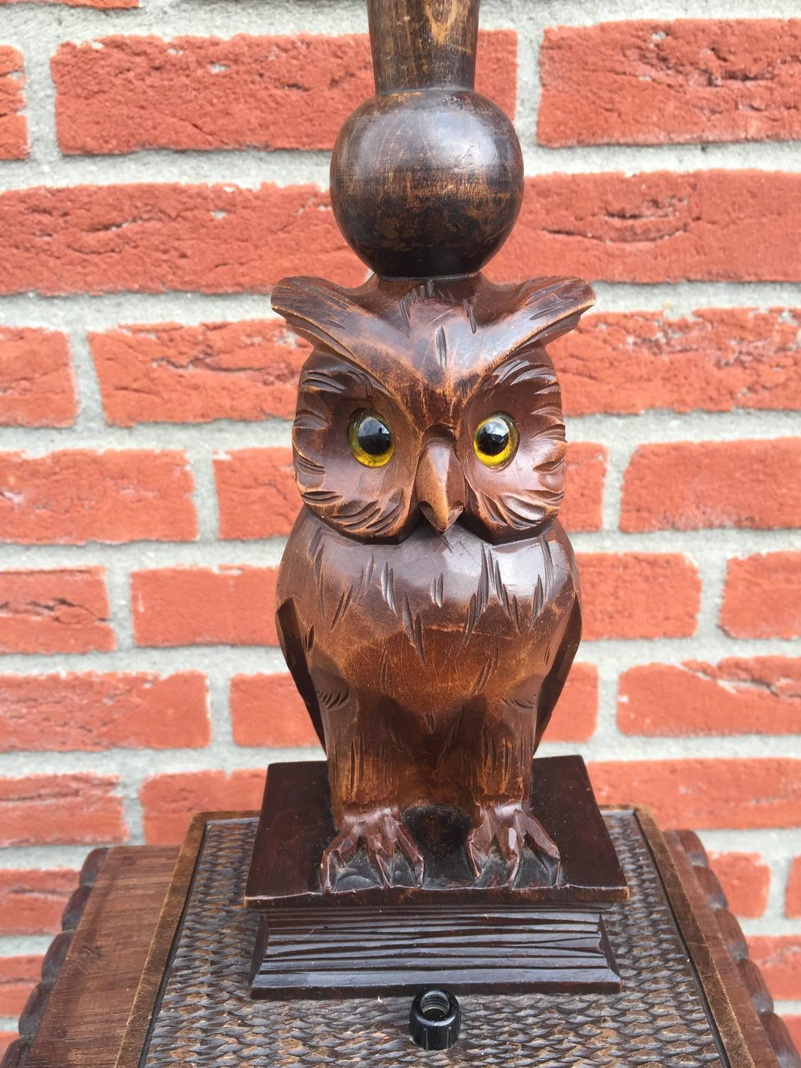 Early black forest carved wooden owl table or desk