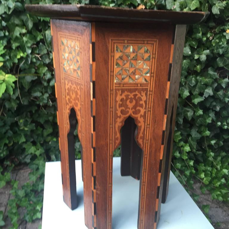 Early 1900s Inlaid Moorish Coffee Table or Stand in the Style of Liberty and Co In Excellent Condition For Sale In Lisse, NL