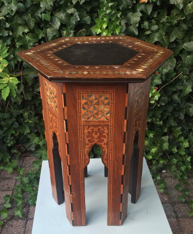 20th Century Early 1900s Inlaid Moorish Coffee Table or Stand in the Style of Liberty and Co For Sale
