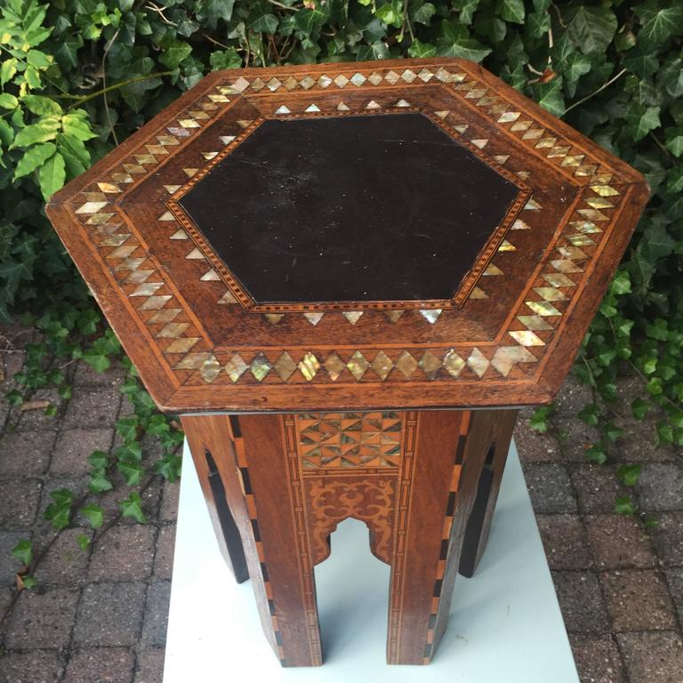 Leather Early 1900s Inlaid Moorish Coffee Table or Stand in the Style of Liberty and Co For Sale