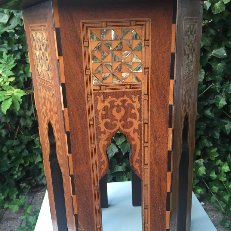 Early 1900s Inlaid Moorish Coffee Table or Stand in the Style of Liberty and Co For Sale 1