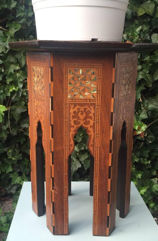 Early 1900s Inlaid Moorish Coffee Table or Stand in the Style of Liberty and Co For Sale 2