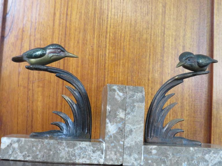 Art Deco Bookends with Cold Painted Bronze Kingfisher Birds on Marble Base 2