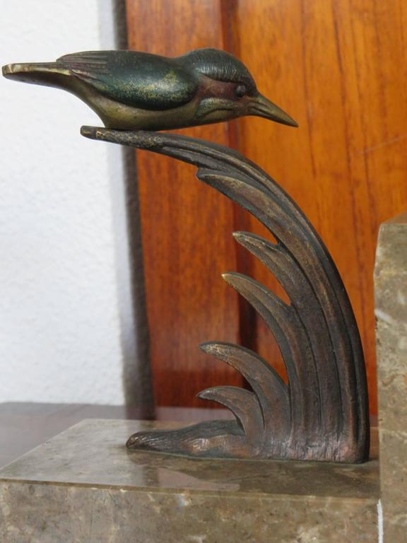 Art Deco Bookends with Cold Painted Bronze Kingfisher Birds on Marble Base 7