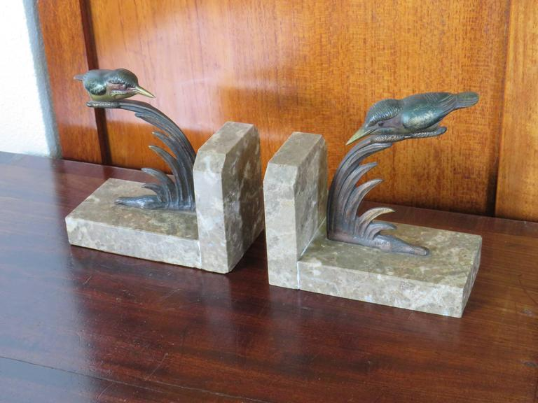Art Deco Bookends with Cold Painted Bronze Kingfisher Birds on Marble Base 10