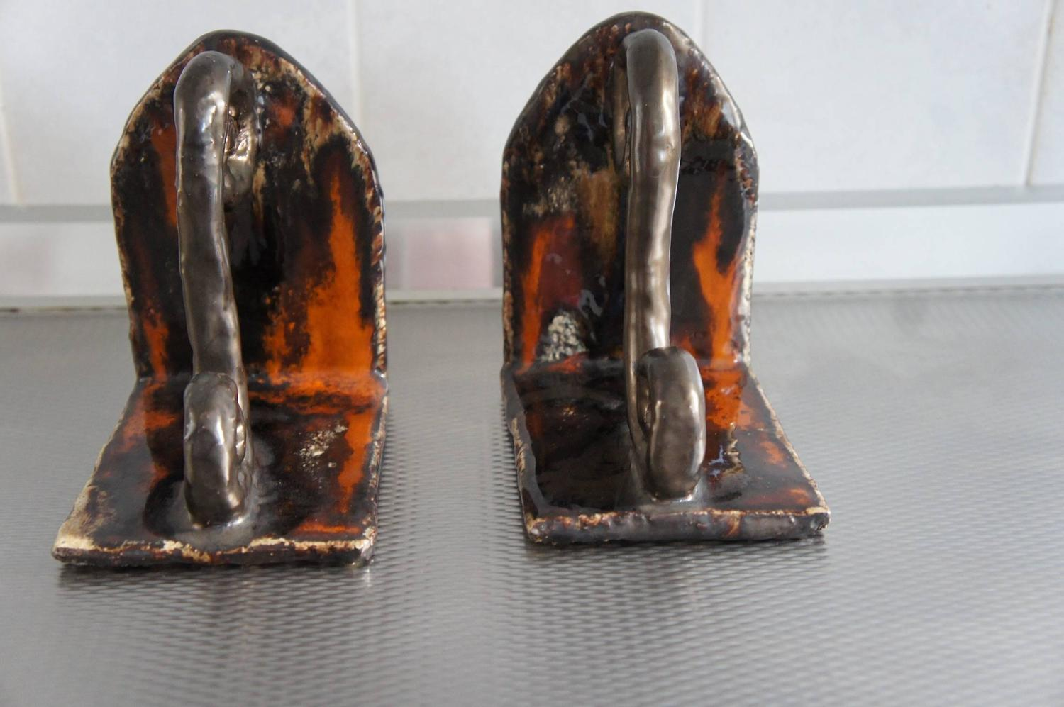 Vintage Design Studio Pottery Glazed Ceramic Bookends