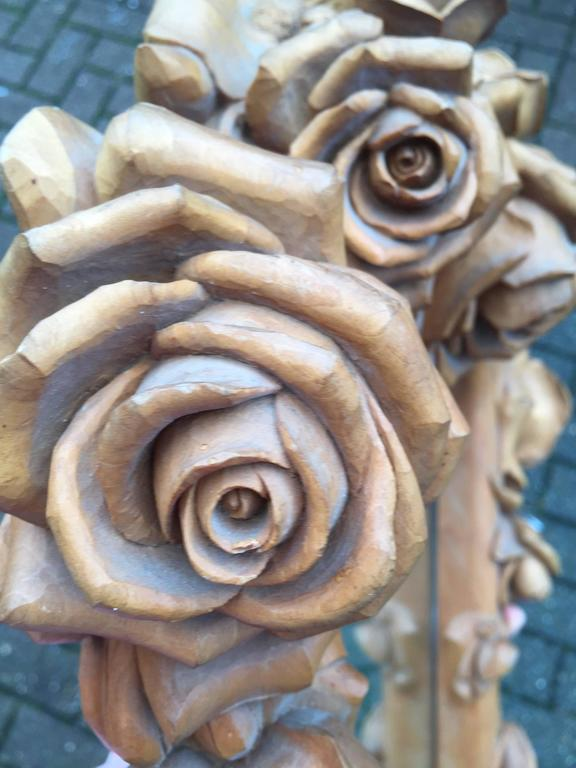 Masterly Carved Wood Art Wall Mirror Frame With Roses