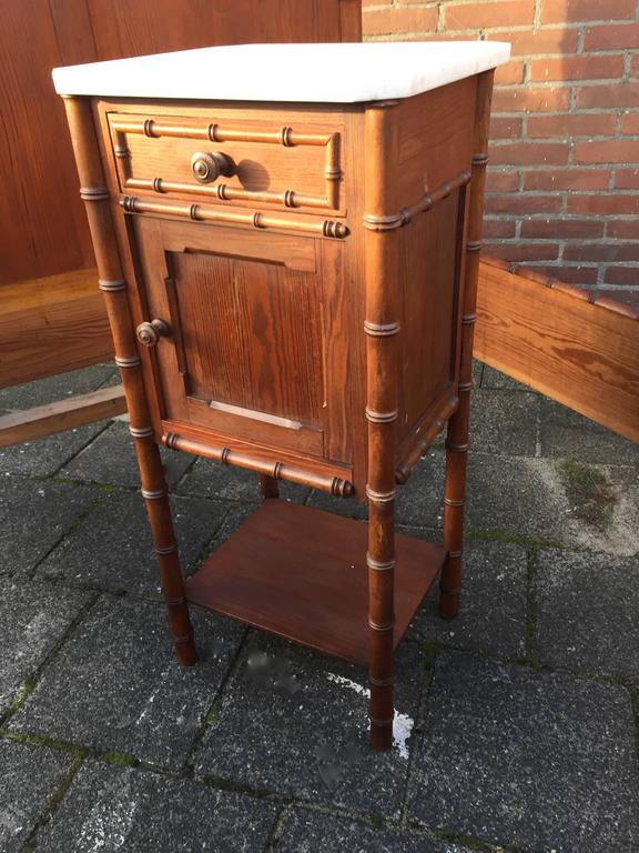 Old Bedside Table: Antique French Faux Bamboo Pinewood Set, Bed With