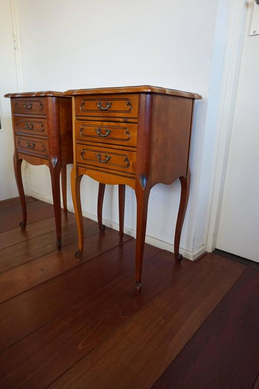 French 20th Century Louis Seize 16 Style Cherry Bedside Tables Cabinets with Drawers For Sale