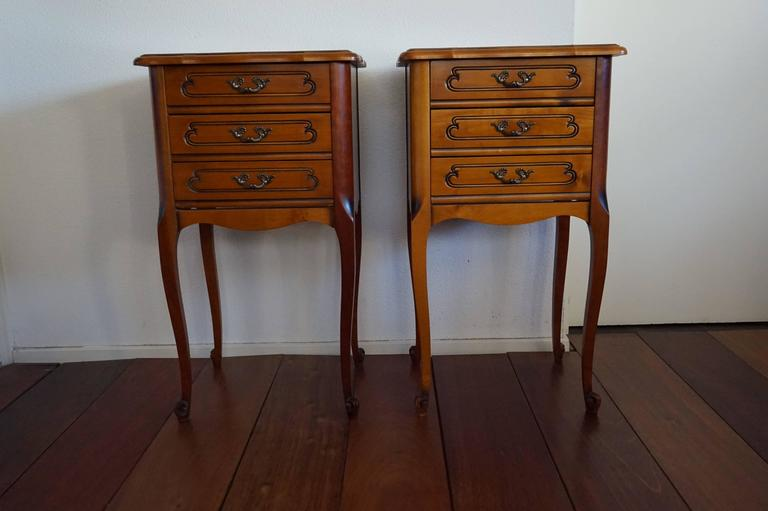 Veneer 20th Century Louis Seize 16 Style Cherry Bedside Tables Cabinets with Drawers For Sale