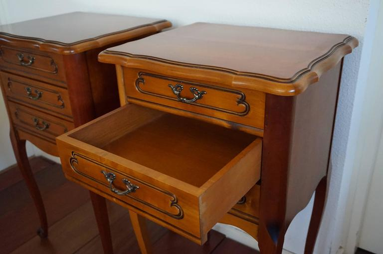 20th Century Louis Seize 16 Style Cherry Bedside Tables Cabinets with Drawers 5