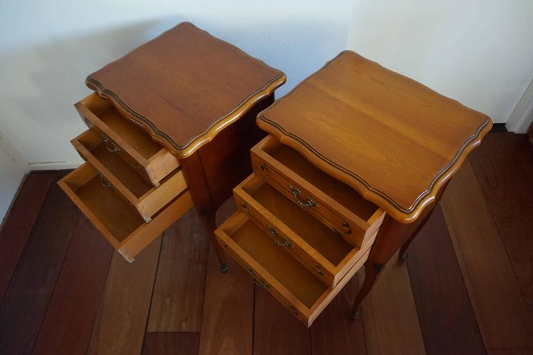 20th Century Louis Seize 16 Style Cherry Bedside Tables Cabinets with Drawers For Sale 1