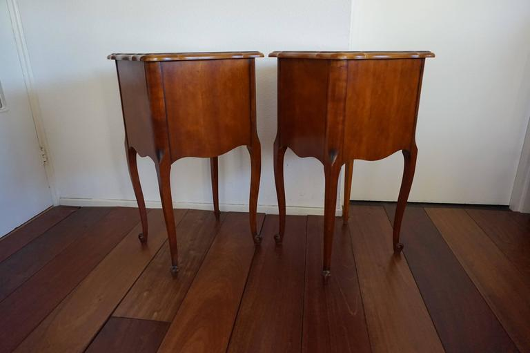20th Century Louis Seize 16 Style Cherry Bedside Tables Cabinets with Drawers For Sale 2