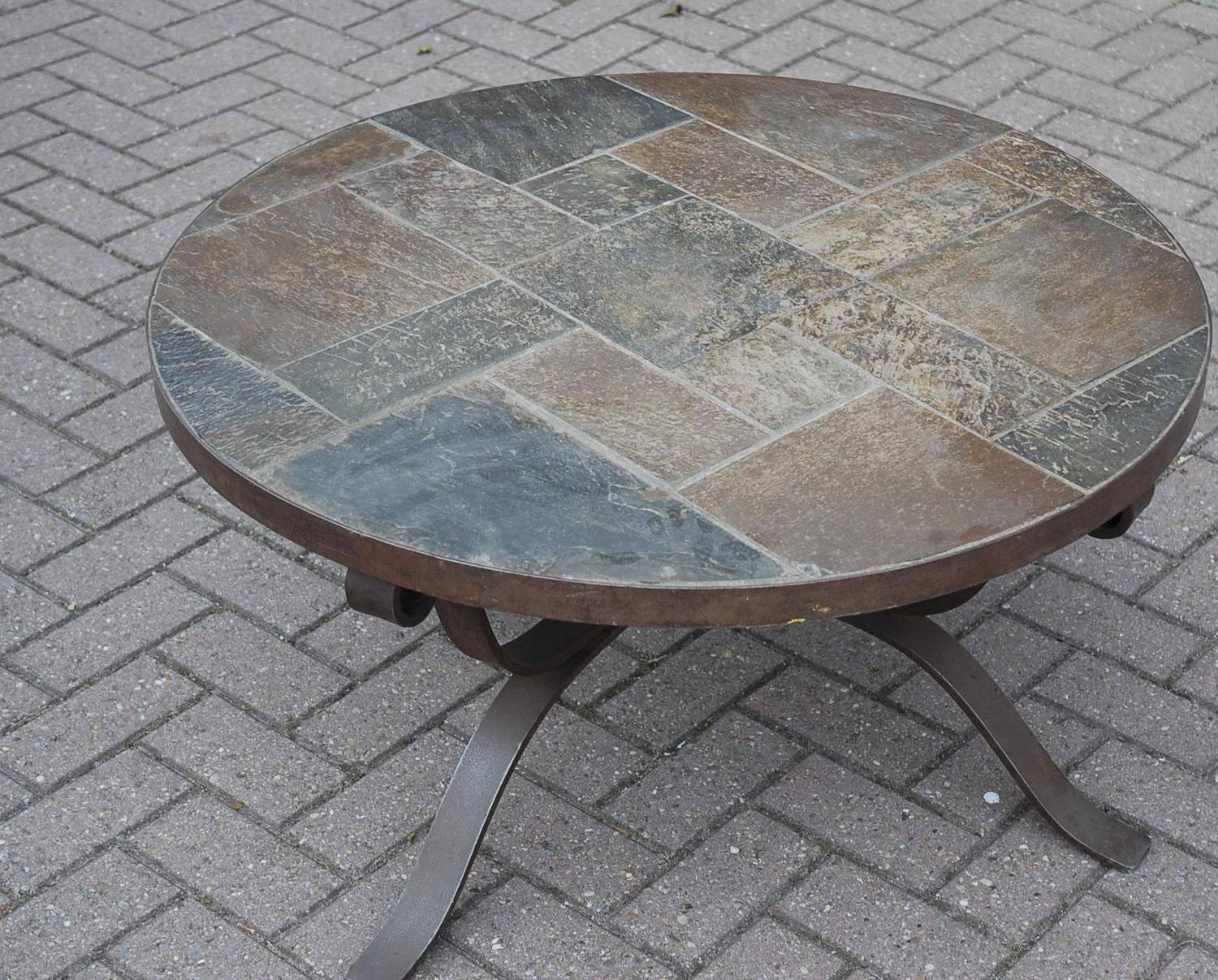 Paul Kingma Style Wrought Iron and Slate Round Coffee Table For Sale